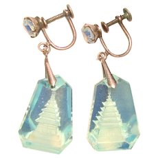 Gorgeous Opalescent GLASS CRYSTAL PAGODA Sterling Vintage Earrings - Reverse Carved