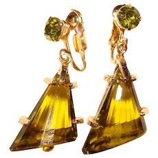 Fabulous PERIDOT GREEN Colored Glass Dangles Rhinestone Earrings