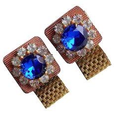 BLUE & CLEAR Rhinestone Mesh Wrap Vintage Cufflinks