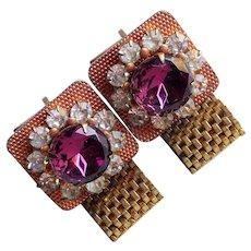 PURPLE & CLEAR Rhinestone Mesh Wrap Vintage Cufflinks
