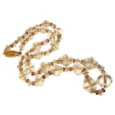 Fabulous Faceted Crystal On Chain Vintage Gold Filled Necklace