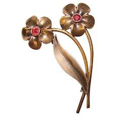 Gorgeous STERLING Jeweled Flower Vintage Brooch