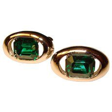 Awesome GREEN RHINESTONE Vintage Cufflinks