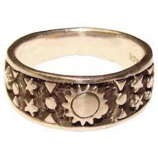 Awesome STERLING Sun & Stars Design Ring