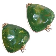 Gorgeous BAKELITE Green Carved Front Vintage Slide Earrings - Marbled End of Day
