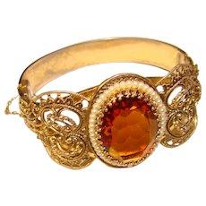 Fabulous WHITING & DAVIS Amber Stone Vintage Bangle Bracelet