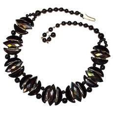 Fabulous W. GERMANY Black Carnival Glass Vintage Panel Bead Necklace