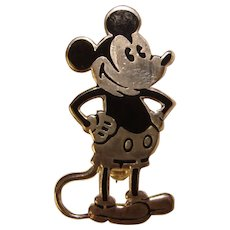 Awesome MICKEY MOUSE Enamel Vintage Estate Brooch