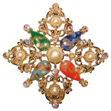 Gorgeous SARAH COVENTRY Color & Aurora Rhinestone Vintage Brooch