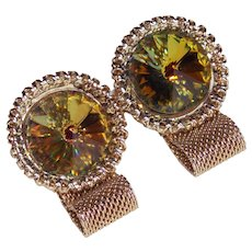 Awesome RIVOLI RHINESTONE Mesh Wrap Vintage Cufflinks - Fawn Brown and Green Colors