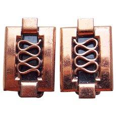 Gorgeous RENOIR Signed Modernist Vintage Estate Clip Earrings