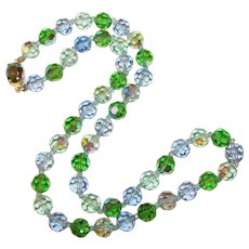 Fabulous BLUE & GREEN Aurora Crystal Vintage Necklace