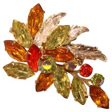 Fabulous FALL COLORS Mixed Rhinestone & Glass Leaves Vintage Brooch