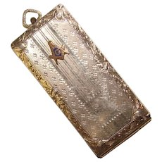 Art Deco FM CO. Signed Masonic Stamp Holder Fob