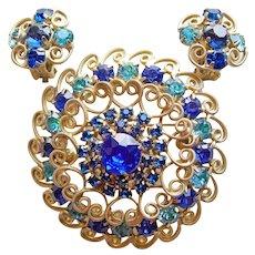 Fabulous D&E JULIANA Blue & Aqua Rhinestone Vintage Brooch Set- Heart Scroll Filigree