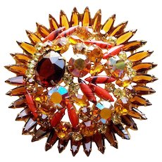 "Fabulous Huge 3"" D&E JULIANA Rhinestone Amber Brown & Coral Colored Vintage Brooch - Autumn Fall - Runway Statement"