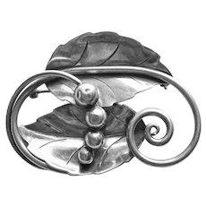 Fabulous GEORG JENSEN Sterling Leaf & Berry Vintage Brooch- La Paglia Design