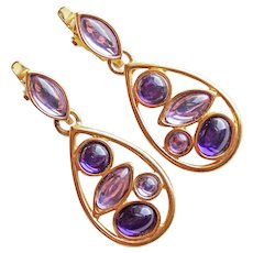 Gorgeous TRIFARI TM Signed Purple & Lavender Stones 1980s Vintage Earrings