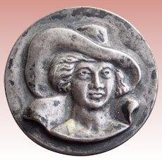"""Tiny LADY IN HAT Old Vintage Brooch - 11/16"""" For your Doll or Lapel"""