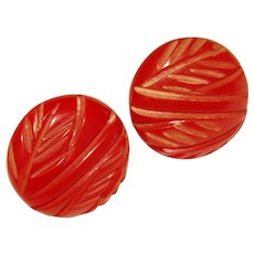 Awesome Vintage BAKELITE Red Carved Earrings