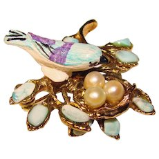 Gorgeous SWOBODA Signed Bird On Nest Vintage Brooch