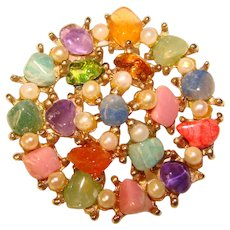 Fabulous SWOBODA CIRO Vintage Colored Stone Pearl Brooch