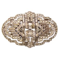 Fabulous Unusual Brooch Converts To Dress Clips & Earrings - Art Deco