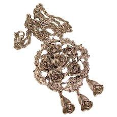 Fabulous TORTOLANI Signed Rose Design Vintage Pendant Necklace