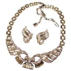 Fabulous TRIFARI Baguette Rhinestone Vintage Necklace Set