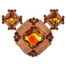 Fabulous GIVRE GLASS Amber & Topaz Brown Rhinestone Brooch Set