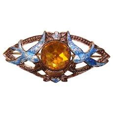 Fabulous Antique Enameled Blue Birds Amber Stone Brooch