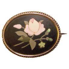 Fabulous Antique 800 Silver PIETRA DURA Brooch