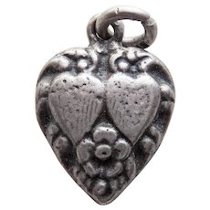 Old Sterling Puffy Heart Vintage Charm