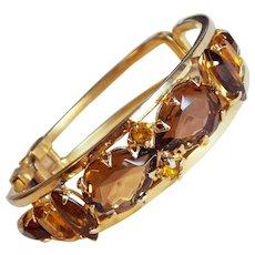 Gorgeous BROWN & AMBER Rhinestone Vintage Bracelet