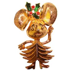 Awesome COREL Signed Christmas Mouse Figural Brooch