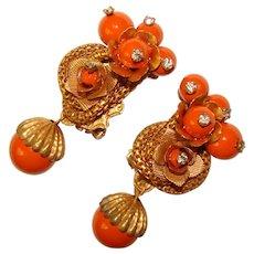 Fabulous ORANGE Bead Rhinestone Dangle Vintage Clip Earrings