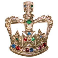 Fabulous ANTHONY ORIGINALS Colored Rhinestone Crown Brooch