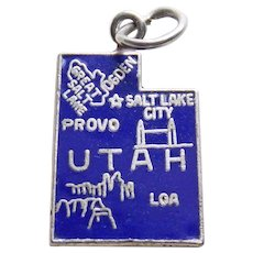 Sterling & Enamel UTAH Vintage Estate Charm - State Souvenir