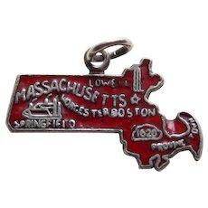Sterling & Enamel MASSACHUSETTS Vintage Estate Charm - State Souvenir