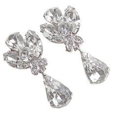 Fabulous EISENBERG ICE Clear Rhinestone Dangle Clip Earrings - VIntage Signed