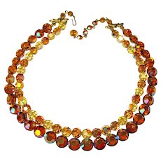 Fabulous Topaz & Yellow Colored Aurora Crystal 2 Strand Vintage Necklace