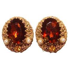 Fabulous WEST GERMANY Topaz Brown Glass Vintage Clip Earrings