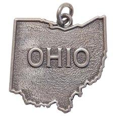 Sterling OHIO Vintage Charm - Buckeye State Souvenir