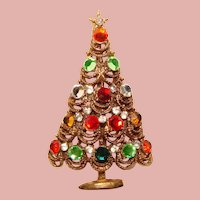 Fabulous CHRISTMAS TREE Colored Rhinestone Vintage Brooch