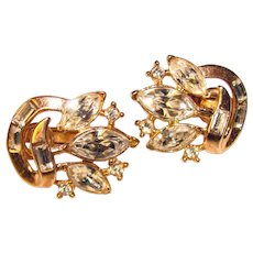 Gorgeous TRIFARI Navette Rhinestone Vintage Clip Earrings