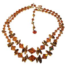 Gorgeous 2 Strand Topaz Brown Colored Aurora Crystal Necklace