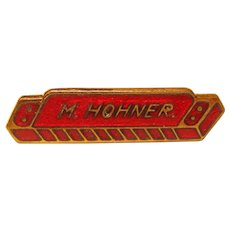 Awesome M. HOHNER Red Enamel Harmonica Vintage Pin