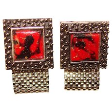 Awesome Red Glass Vintage Mesh Wrap Cufflinks