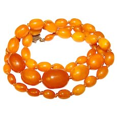 Fabulous Butterscotch Egg Yolk Amber Bead Vintage Necklace