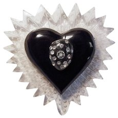 Fabulous REVERSE CARVED LUCITE & Rhinestone Huge Heart Vintage Brooch